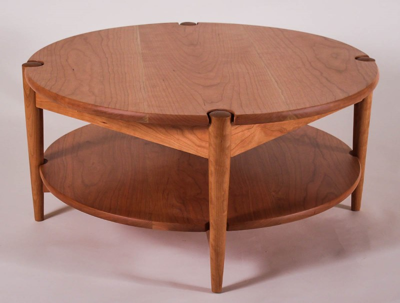 custom round coffee table with a shelf | peaslee design